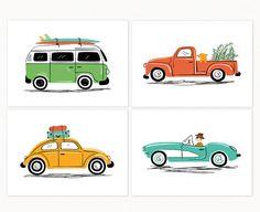"Vintage Cars Wall Art Print Set - Set of 4 - cute cars illustrations - VW Van, Beetle, Pickup, Corvette - Unframed 7""x5"" or 10""x8"""
