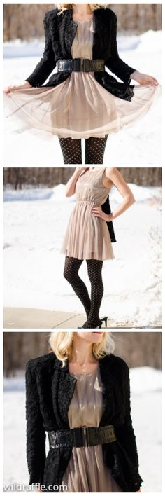 tulle dress layered for cold weather