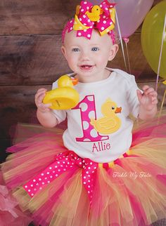 Rubber Ducky Themed Birthday Tutu Outfit Rubber by TickleMyTutu