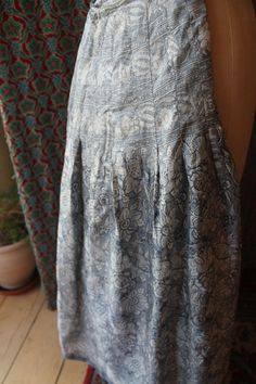 grey paisley bespoke silk pleated lined skirt REF148 by CherryPickedChic on Etsy