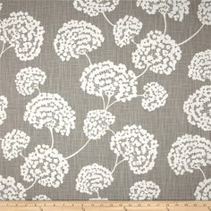 """Robert Allen Crypton Toile Stems Slub Light Grey from @fabricdotcom  Screen printed on (approx. 6.5 ounce) cotton slub duck, this versatile, medium weight fabric is perfect for window accents (draperies, valances, curtains and swags), accent pillows, bed skirts, duvet covers, slipcovers, upholstery and other home decor accents. Create handbags, tote bags, aprons and more. Colors include white and grey. This fabric has 100,000 double rubs. **Crypton Home Fabric is an affordable """"performance…"""