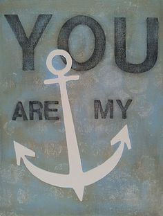 """You Are My Anchor, Original Painting, 9""""x12"""" Canvas Panel, Acrylic Painting, Wall Art, Modern Paintings, Anchor Wall Art"""