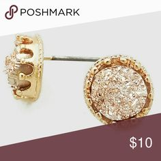 Gold and Rose Simulated Druzy Earrings Simulated Druzy Irregular Shape Stud Earrings Color : GOLD-ROSE Size : Length: 10mm Jewelry Earrings