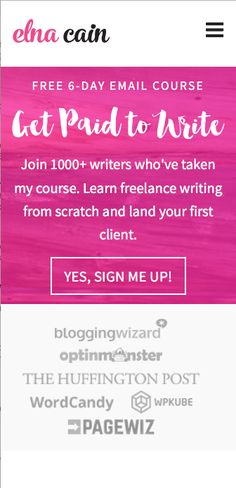 Want to get paid to write? Or make a living writing? Whether you're a stay-at-home mom or wanting to work from home, freelance writing is a great service to offer. Check out my free email course for bloggers and aspiring writers who want to learn how get paid to blog online. Ditch your 9-5 today!