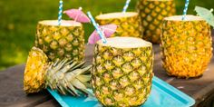 Pina colada pineapple cups INGREDIENTS 2 pineapples 4 oz. light rum 1 oz. dark rum 4 oz. Coconut Cream 2/3 c. chopped fresh pineapple splash pineapple juice splash coconut milk ice DIRECTIONS  Cut off the pineapple tops. With a pineapple corer, remove the top 3/4 of the inside of the pineapple. Be careful not to pierce through the bottom of the pineapple, or your drinks will leak. Take out the tall remaining core with a knife. Cut the removed pineapple slices into large chunks. Set aside. In…