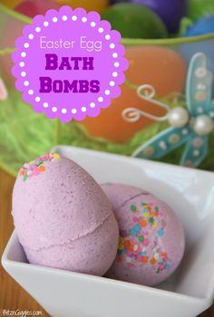 Easter Egg Bath Bombs - YES, you can make bath bombs from plastic Easter eggs. Full step-by-step tutorial on how to do it! {BitznGiggles.com}