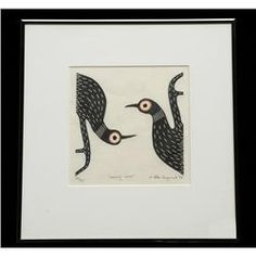 """Allen Angeconeb : Loons (1984 serigraph  29/30, 14.5x15"""") Nativity, Native American, Moose Art, Auction, Painting, Animals, Animales, Animaux, The Nativity"""