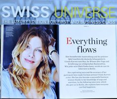 """Great Interview with german celebrity, Ursula Karven, in the new Swiss Air Magazine """"Swiss Universe"""". Photo: Bjoern Kommerell"""