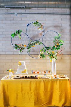 cake table backdrop, photo by Tuan H. Bui http://ruffledblog.com/1960s-inspired-mod-shoot #backdrops #weddingideas #reception