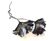 Ornate Wrought Iron Entwined Ginkgo Leaf by KSkilesJewelry on Etsy