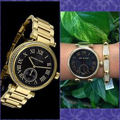 Authentic Michael Kors Crystal Gold Watch % AUTHENTIC✨ Beautiful gold ladies watch from Michael Kors! Stainless steel case & bracelet. Fixed gold tone bezel, set with sparkling crystals Scratch resistant mineral crystal. Water resistant at 100 meters. Bangle not included. Box & card included. New, tag detached. STUNNING NO TRADE Michael Kors Accessories Watches