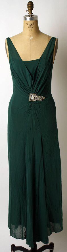 ~Dress, Evening  (b) Lenief (French)  Date: ca. 1934 Culture: French Medium: silk, metal, glass~