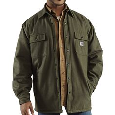 men in flannel | Carhartt Chore Flannel Shirt Jacket - Quilt-Lined (For Tall Men) in ...