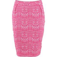 Fracomina Midi Skirt (€75) ❤ liked on Polyvore featuring skirts, fracomina, calf length skirts, cotton skirts, pink midi skirt and pink skirt