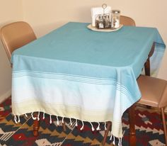 Peshtemal as a table cloth.