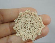 Miniature crochet doily in gold color 1:12 dollhouse by MiniGio