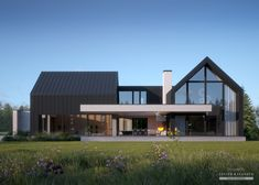 House project: LK & 1456 - Exclusive HOUSE project: Life at the highest level - Modern Barn House, Modern House Plans, Contemporary House Plans, Contemporary Design, Minimalist House Design, Modern House Design, Modern Farmhouse Exterior, Dream House Exterior, Facade House