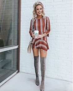 17+ Over The Knee Boot Outfit Looks To Get Inspired By: Styling grey over the knee boots can be tricky if you don't know what to do with them. Copy these over the knee boots casual winter outfits to give you a head start! | Grey thigh high boots outfit with stripes romper and blonde hair. Image Image ©️️ChampagneAndChanel #overthekneeboots #overthekneebootoutfit #thighhighbootsoutfit #greyoverthekneeboots
