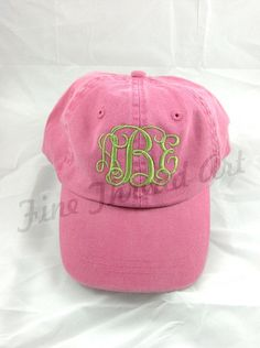 23e77ea610c KIDS Monogram Baseball Cap Hat for Girls Boys Youth Size Name Initials  Leather Strap