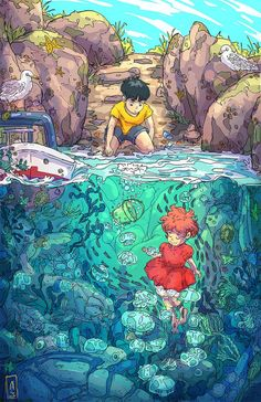 A very cool Ponyo wallpaper : ghibli Dessin danimation Japonais Totoro, Art Studio Ghibli, Studio Ghibli Movies, Japon Illustration, Digital Illustration, Art Illustrations, Animes Wallpapers, Cute Wallpapers, Aesthetic Art