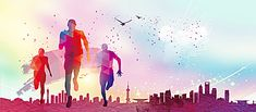 Multicolored youth run background Running Man, Cross Country, Brosure Design, Skate, Sports Wallpapers, Silhouette, Triathlon, Background Images, Marathon