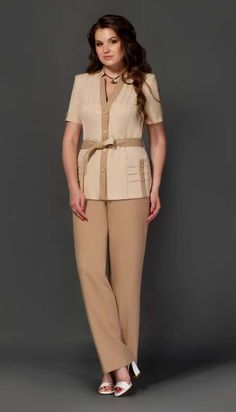 Costumes for full fashionistas Belarusian company Lissana. Suits For Women, Clothes For Women, Classy Suits, Blouse Outfit, Dress For Success, Linen Dresses, Work Attire, Dress Patterns, Summer 2015