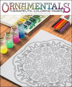 Lotus and Ladybug OrnaMENTALs Coloring Page Design #0003