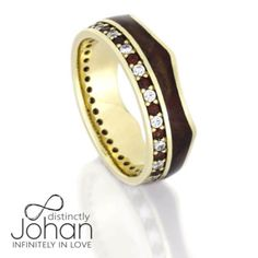 Crown Ring, Gemstone Eternity Wedding Band With Wood Inlay in Yellow Gold-DJ1020YG
