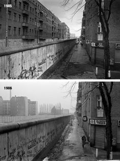 Heidelbergerstraße, Alt-Treptow 1985/1986 before/after the houses on the DDR side was torn down. Brilliant photos by Chris John Dewitt.