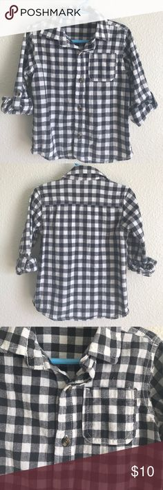 Toddler Boys Plaid Button Down Long Sleeve Toddler Boys Plaid Button Down Long Sleeve Shirt (Black/Grey). Worn Once! Size 3T! Crazy 8 Shirts & Tops Button Down Shirts
