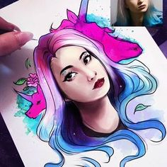Unicorn, Female, Lady, Drawings, Illustration, Youtube, Painting, Instagram, Sketches