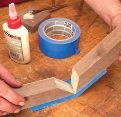 Tape Simplifies Gluing Miter Joints - Woodworking Shop - American Woodworker | See more about Woodworking, Woodworking Shop and Ems.