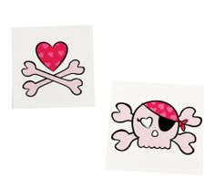 "Pink Skull Tattoos (8) by BirthdayExpress. $4.00. Every pirate needs a few tattoos. Assorted; 1.5""-2""."