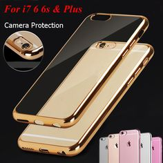 """Newest 7 & 7 Plus  Rose Gold Electroplating Case For iPhone 7 6 6s 4.7"""" 6s Plus 5.5"""" Soft Tpu Silicone Case Cover"""