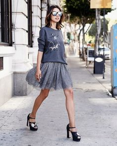A Sweatshirt, a Tulle Skirt, and Heels