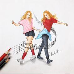 Resultado de imagen para imagenes para dibujar de mejores amigas