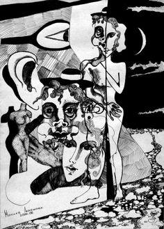 Nika Lemi, Красивое и ужасное | Бумага, тушь, гелевая ручка, 40 х 30 см, без багета | Черно белая графика абстракция сюрреализм
