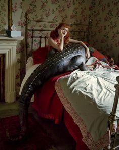 """Karen Elson & Her Enormous Crocodile"" from ""Tales of the Unexpected"" | Model: Karen Elson, Photographer: Tim Walker, Brentford, UK, Vogue UK, December 2008"