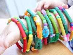 Pasta & Beads Bracelets - super easy to make, great for small kids hands and fine motor skills