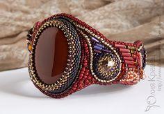 Купить Браслет и серьги из бисера с сердоликом и сваровски - комплект украшений, комплект из бисера, вышитый браслет