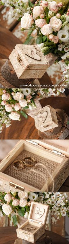 Birch Bark Wood Wedding Ring Box  ||  @4lovepolkadots