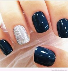 Dark Navy Blue and Metallic Silver Nails. O Spa Kelowna, En Vogue Gel Nails and Lac Sensation Manicures by jessie Dark Navy Blue and Metallic Silver Nails. O Spa Kelowna, En Vogue Gel Nails and Lac Sensation Manicures by jessie Navy Nails, Navy And Silver Nails, Dark Gel Nails, Green Nails, Shellac Nails Fall, Dark Nail Art, Black Nails, Navy Nail Polish, Black Manicure