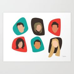 Simple and retro FRIENDS illustration<br/> <br/> Friends, TV, TV shows, Phoebe...