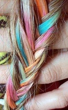 A rainbow of hair hues make for the most unique braids. #hairinspiration