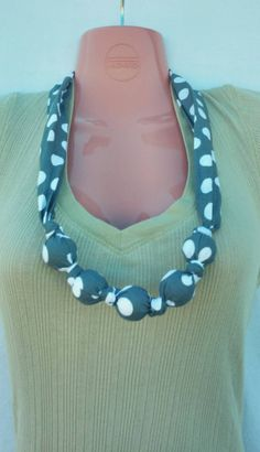 Nursing Teething Necklace- 100% cotton fabric covered natural wooden beads- Grey Polka Dots