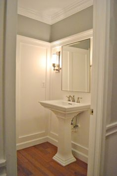 Sixteen Fourteen: Gorgeous bathroom with gray walls paint color, glossy white pedestal sink, Restoration ...