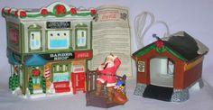 Coca-Cola Town Square Collection Bonus Lot of 3 Christmas Items. Town Square Lighted Barber Shop, NEW Covered Bridge, and BONUS Santa Ornament #christmas #ornaments #santaiscomingtotown