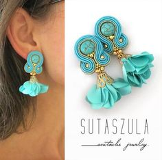 Vibrant jewelry Turquoise Earrings turquoise clip on earrings Trendy Soutache Jewelry turquoise orecchini spring trends Soutache Necklace, Beaded Earrings, Etsy Earrings, Earrings Handmade, Beaded Jewelry, Turquoise Earrings, Silver Hoop Earrings, Flower Earrings, Clip On Earrings