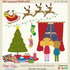 Watching for Santa Sceen Layered Element TEMPLATES #CUdigitals cudigitals.com cu commercial digital scrap #digiscrap scrapbook graphics