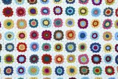 Colourful, flower-pattern granny square # crochet blanket